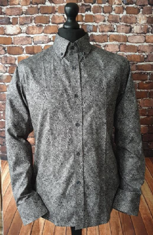 """Toby"" Black & White Paisley Shirt"